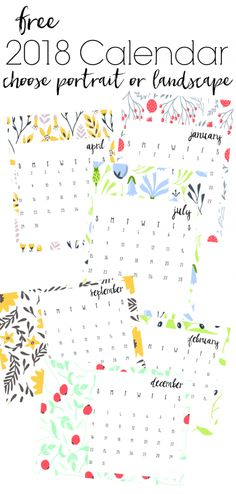 Start the new year with these free 2018 printable calendars. Two different designs, each with a different floral or sketch design for every month. 2018 Printable Calendar, Free Printable Calendar, Free Printables, Notebook Organization, Free Planner, Sketch Design, Bullet Journal Inspiration, Decorating On A Budget, Creative Inspiration