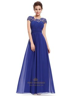 FancyBridesmaid.com Offers High Quality Royal Blue Chiffon Evening Dress With Illusion Lace And Keyhole Back,Priced At Only USD $105.00 (Free Shipping)