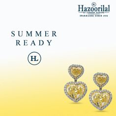'Live by the sun as you love by the moon.' Get ready for summers as you sport these gorgeous heart shaped earrings in Yellow Diamonds from the House of #HazoorilalBySandeepNarang #YellowDiamonds #FancyCuts #CertifiedSolitaires #SummerReady #CampaignSummers #Yellow #Hazoorilal