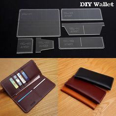 DIY Business Long Rectangle Wallet Template Acrylic Stencil Leather Craft YKL-90