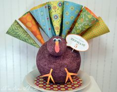 Paper Cone Turkey- styrofoam balls, paint, scrapbook paper and dum dums, easy and cute!