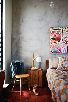 Bedroom Rosetta Santucci artwork (above Nina's bed) and Nancybird 'Fish scale' bedlinen feature in the...