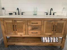Oak Bathroom Vanity, Master Bath Vanity, Master Bedroom Bathroom, Double Sink Vanity, Reclaimed Wood Bathroom Vanity, Bathroom Ideas, Wooden Bathroom Cabinets, Bathroom Inspo, Farmhouse Vanity