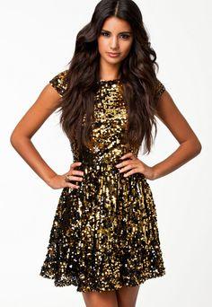 Golden Flashy Sequin Textured Skater Dress