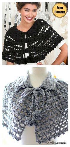 Lace Mystical Cape Free Crochet Pattern Crochet capes are a delightful mix of shawls, cardigans and ponchos. The Lace Mystical Cape Free Crochet Pattern is crochet beginner friendly. Crochet Capelet Pattern, Crochet Shawl, Crochet Lace, Free Crochet, Crochet Patterns, Basic Crochet Stitches, Crochet Basics, Baby Bolero, Lila Pause