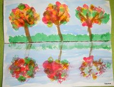 Tippytoe Crafts: Fall Reflections Fall Arts And Crafts, Fall Crafts For Kids, Art For Kids, Autumn Crafts, Kid Art, Thanksgiving Crafts, Kid Crafts, Felt Crafts, Paper Crafts