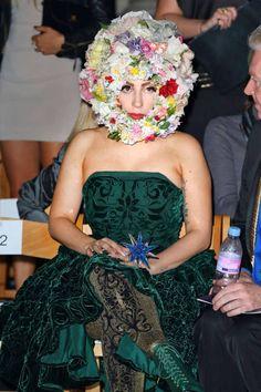 It's flower power, helmet style, for Lady Gaga at Philip Treacy