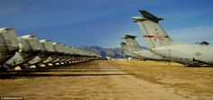 These military planes are stored at the Davis¿Monthan Air Force Base in Tucson, Arizona.