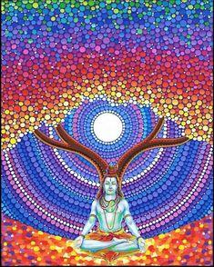 Lord Shiva as adiyogi in creative art painting Shiva Hindu, Shiva Art, Hindu Deities, Hindu Art, Krishna, Dot Art Painting, Mandala Painting, Mandala Art, Peace Painting