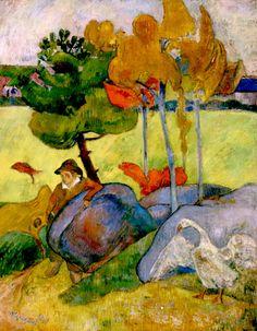Paul Gauguin ~ Breton Boy in a Landscape (Little Breton with Goose), 1889