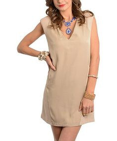 Another great find on #zulily! Beige V-Neck Shift Dress #zulilyfinds