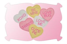 Conversation Hearts Snap Clip Covers In The Hoop Will fit 4x4 (10X10) machines.