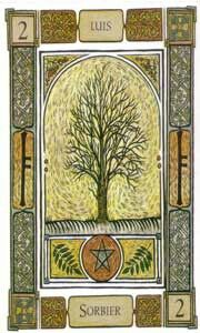 """Rowan"" Ogham: Luis. Offers Protection from the evil eye;  The Rowan is synonymous with magical protection. If you have hidden enemies they cannot reach you through evil spells nor charms, your protection will turn them away. It is assumed if you have drawn the Rowan that something and someone somewhere constitutes the needing of such protection this card offers. Though you are protected, keep watchful of even your assumed closest friends and allies as those with ill intent will be flushed…"