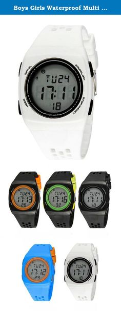 Boys Girls Waterproof Multi Function Ultra-thin Movement Outdoor Resin Sports Watch Digital Watches White. Display: hour, minute, second, month, day and week EL back light Chime on every hour Battery life: in the normal situations can be using 18 months NOTE: Please do NOT press any buttons in water when swiming or diving Please be free to contact us if you have any problem with this watch.