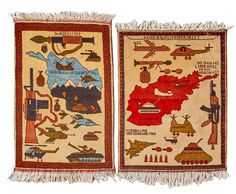 (11DA) A Pair of Afghan War Rugs n\A Pair of Afghan War Rugs Hand-knotted depiction of iconic war imagery. Geographic… / MAD on Collections - Browse and find over 10,000 categories of collectables from around the world - antiques, stamps, coins, memorabilia, art, bottles, jewellery, furniture, medals, toys and more at madoncollections.com. Free to view - Free to Register - Visit today. #Rugs #Carpets #Textiles #MADonCollections #MADonC