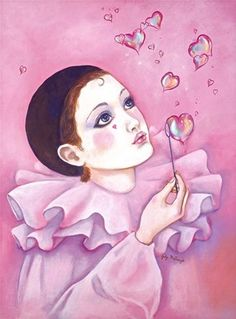 Giclee Print: Mime with Heart Bubbles by Judy Mastrangelo : Bubble Drawing, Bubble Painting, Vintage Halloween Cards, Vintage Clown, Clowns, Creepy Clown Makeup, Pierrot Clown, Clown Paintings, Heart Bubbles