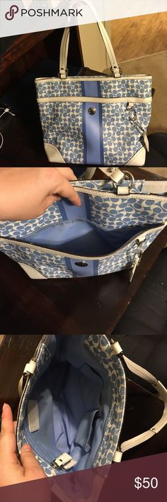 Coach tote Has some staining and ink pen marks as well as wear on corners. Please see pictures Coach Bags Totes