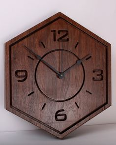 Black Walnut Slab Wall clock, wall art, wood clock, wooden clock, carved, decorative wall clocks, wood carving, carving, home by TimberlakeDesign on Etsy