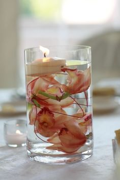 Floating Candle Centerpiece  www.stacykfloral.com