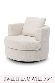 The Felix Swivel Chair is the accent chair of dreams! Boasting a cosy, enveloping tub-style silhouette, this richly-cushioned armchair is upholstered in a sumptuous boucle fabric mounted on a black swivel base. #sweetpeaandwillow #eichholtz #luxuryswivelchair #creamswivelchair #bouclechair #boucleswivelchair Sweetpea And Willow, Willow Furniture, Monochrome Interior, Modern Art Deco, Swivel Armchair, Bedroom Chair, Wing Chair, Sit Back, Cosy