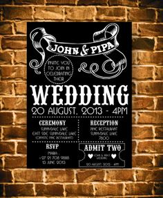 black+and+white+wedding+invitation+punk+rock+by+allrounddesign,+$10.00