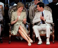 Charles And Diana: The Prince and Princess of Wales at the Bamenda Electrification Plant in Cameroon, March 1990. She wears a Catherine Walker dress. (Photo by Jayne Fincher/Princess Diana Archive/Getty Images)