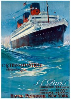 SS NORMANDIE French Line Ship Poster Ocean Liner Cruise New York Art Print 194