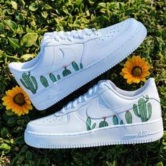 Cactus Each individual pair is handcrafted to order Not painted Brand new with Box Final Sale. Non refundable/ No Exchanges. Turn around time weeks + Shipping Time (subject to change without… Cute Nike Shoes, Cute Nikes, Cute Sneakers, Shoes Sneakers, Af1 Shoes, Nike Custom Shoes, Vans Custom, Custom Af1, Sneakers Design