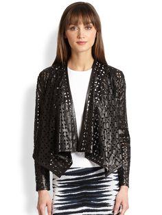 Saks Fifth Avenue Mobile Laser Cut Leather, Shrug Cardigan, Latex Fashion, Unique Outfits, Saks Fifth Avenue, Unique Fashion, Laser Cutting, Fashion Accessories, Leather Jacket
