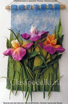 Ideas For Wall Hanging Wool Yarns Nuno Felting, Needle Felting, Felt Wall Hanging, Felt Pictures, Wool Embroidery, Felting Tutorials, Felt Art, Felt Flowers, Quilts