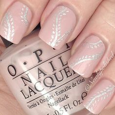 Pastel Pink Nails With Silver Accents