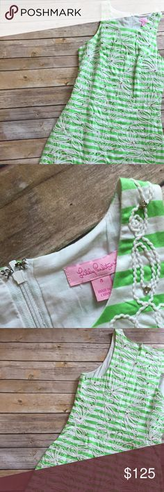 Lilly Pulitzer green and white stripe dress Lilly Pulitzer green and white stripe dress with embroidered detail and rhinestones. Worn once. Lilly Pulitzer Dresses