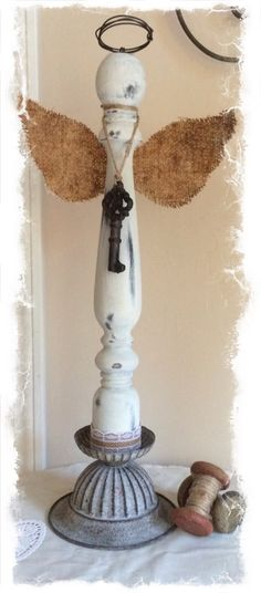 Another cute mixed media spindle angel