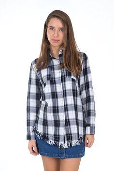 Simply Love 'Follow Your Heart' Fashion Casual Turn Down Collar Grid Button Slim Shirt Blouse Long Sleeve Pocket Shirts (Blue)
