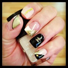 Gold Nude Black CHANEL Nails