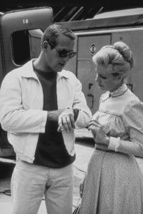 Paul Newman in khakis, navy crewneck and lightweight bomber; casual cool circa 1965