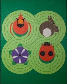 """""""A Day in Eden"""" by Charley Harper. Acrylic on canvas. Image Size: 30""""h. x 24""""w. 1988 http://www.harperoriginals.com/charleys-originals/a-day-in-eden.html"""
