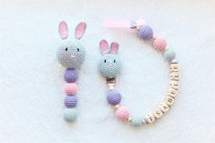 Gift set with dummy holder  personalized pacifier clip and