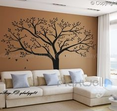 Image of Giant Family Tree Wall Stickers Vinyl Art Home Photo Decals Room Decor Mural Anniversary Wedding Valentines Day Gift Wall Mural Decals, Tree Decals, Nursery Wall Stickers, Vinyl Wall Art, Sticker Vinyl, Vinyl Decor, Wall Decor Stickers, Frame Wall Decor, Mural Art