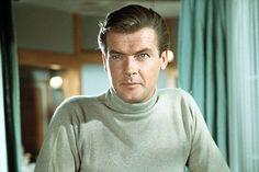 Just like James Bond the timeless Turtleneck. Happy 50th birthday Bond! James Bond, Happy 50th Birthday, Roger Moore, Men Style Tips, His Eyes, New Books, Favorite Tv Shows, Saints, Mens Fashion