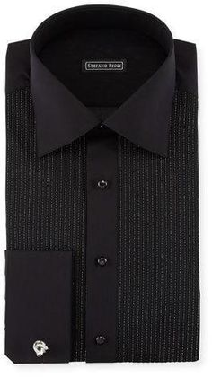 Stefano Ricci Metallic-Pleated Tuxedo Shirt, Black