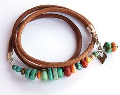 Turquoise Wrap Bracelet  turquoise coral by ChickpeaDesignStudio, $83.00
