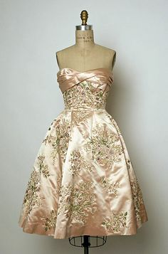 """I want this soooo much!! Evening Dress, Pierre Balmain (French, 1914–1982) for the House of Balmain (French, founded 1945) for Bergdorf Goodman (American, founded 1899): fall/winter 1956-57, French, silk/beads. Marking: [label] """"Pierre Balmain/Paris; Bergdorf Goodman/New York/Newhouse, 10/16/56, (No.) Debby""""    Designer:  I want it toooooo!!! Oh my, how beautiful"""