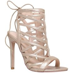 Carvela Gracie Caged Stiletto Sandal Court Shoes (8,045 PHP) ❤ liked on Polyvore featuring shoes, sandals, gold, lace up high heel sandals, flat shoes, gold shoes, gold stilettos and lace up flat sandals