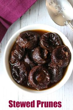 Stewed prunes are so delicious. Even if you don't need constipation relief, I think you will love the taste! Healthy Food Blogs, Easy Healthy Recipes, Baby Food Recipes, Healthy Snacks, Cooking Recipes, Healthy Eating, Recipe For Stewed Prunes, Easy Meal Prep, Easy Meals