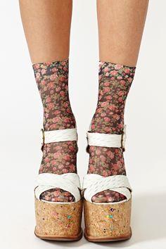 Rosebud Ankle Socks in Black