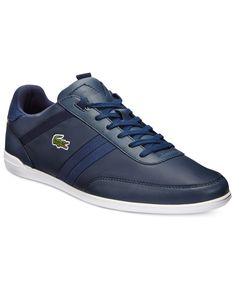 Lacoste takes a minimalist approach to sporty, casual style with these sleek sneakers. | Synthetic upper; rubber sole | Imported | Lace-up closure with hidden eyelets | Padded collar for comfort | Web