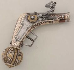 1529 - Saxon Royal Court style wheel lock pistol with finely inlaid stocks, showing gold gilt bronze acce