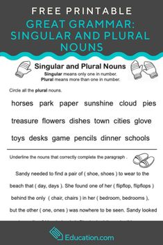 Great Grammar: Singular and Plural Nouns Plural Nouns Worksheet, Plurals Worksheets, Singular And Plural Nouns, Grammar Tips, Teaching Grammar, Teaching English, Learn English, Writing Resources, Teaching Resources
