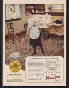 1923 Congoleum Rug Kitchen Home House Decor MOP Sanitary Pattern Floor Art Ad | eBay